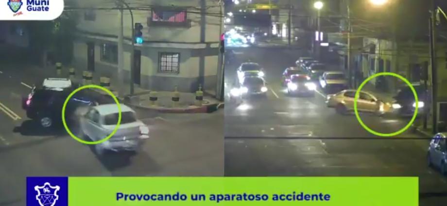 Accidente en zona 12, captado por cámaras de vigilancia