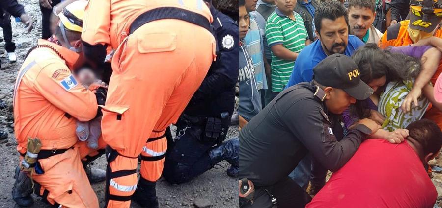 rescatan a bebé y mujer en derrumbe en huhuetenango
