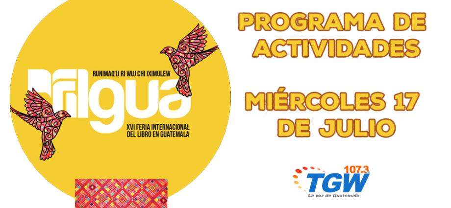 Programa de actividades Filgua 2019 miércoles 17 de julio