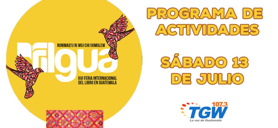 Programa de actividades Filgua 2019 sábado 13 de julio